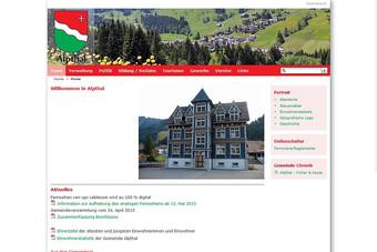 Ansicht der Webseite der Gemeinde Alpthal
