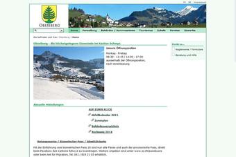 Ansicht der Webseite der Gemeinde Oberiberg