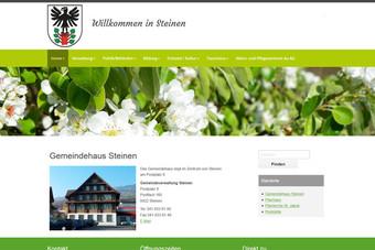Ansicht der Webseite der Gemeinde Steinen