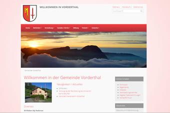 Ansicht Webseite der Gemeinde Vorderthal