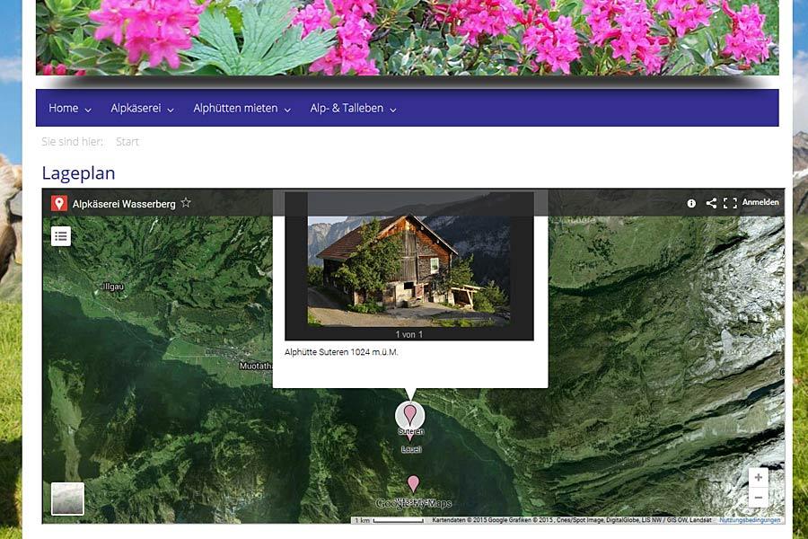 Ansicht Google Map mit Markierungen
