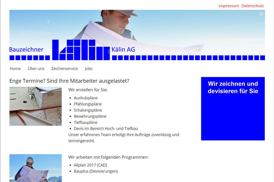 Ansicht Webauftritt bauzeichner.ag