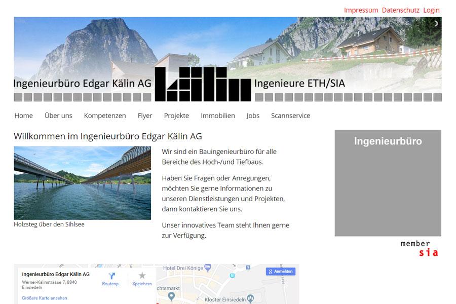 Ansicht Webauftritt ingenieurkaelin.ch