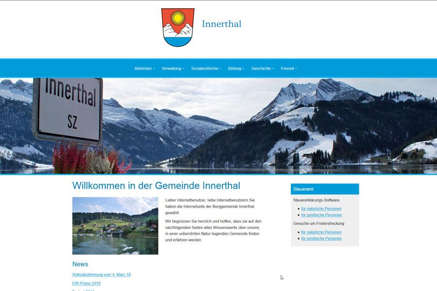 Ansicht Webauftritt Gemeinde Innerthal