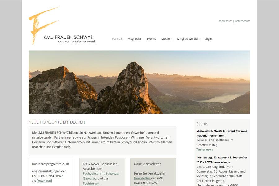 Ansicht Webauftritt KMU FRAUEN SCHWYZ