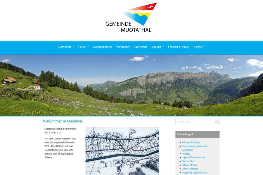 Ansicht Webauftritt muotathal.ch
