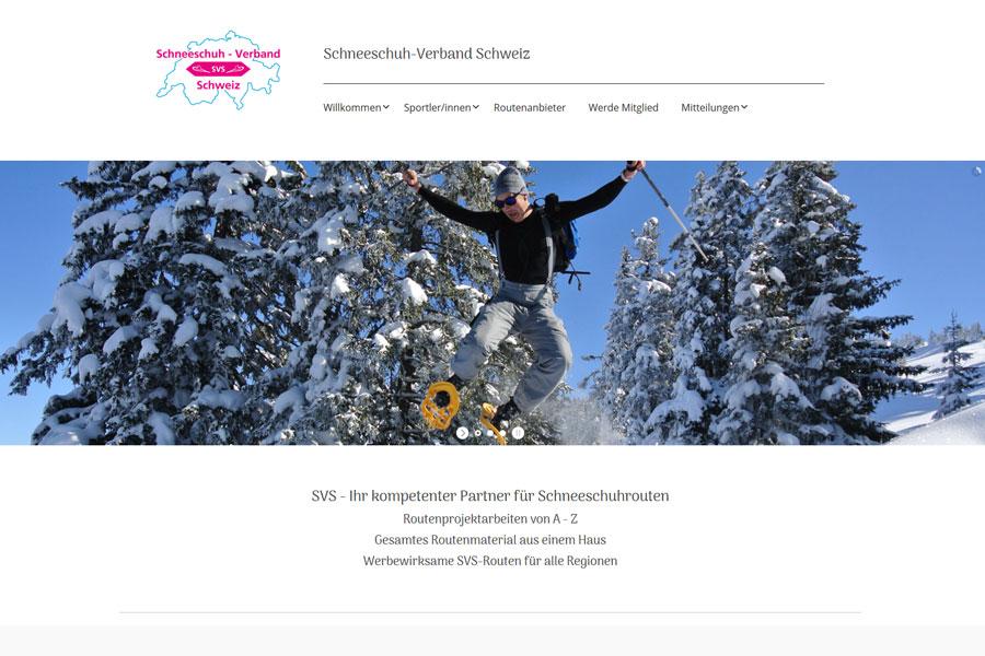 Ansicht Webauftritt Schneeschuh-Verband Schweiz
