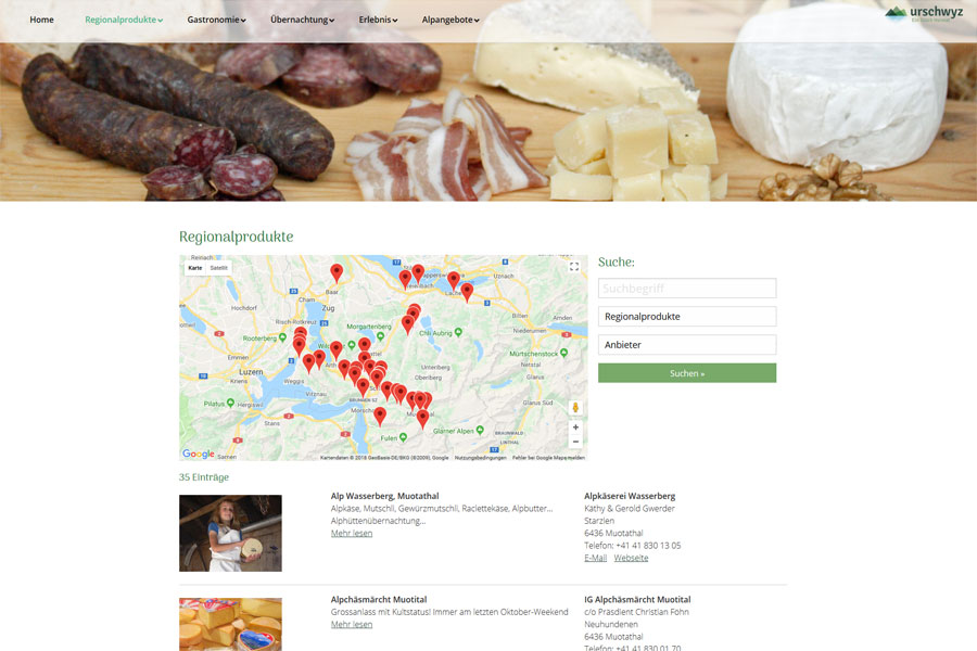 Ansicht Bereich Regionalprodukte mit Googel Map